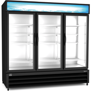 Kelvinator REFRIGERATION EQUIPMENT MERCHANDISER FREEZER, 72 CU.FT, 3 GLASS DOOR, BLACK (R404A) - Bennet Hill