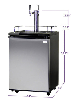 "KEGCO 24"" Wide Homebrew Dual Tap Stainless Steel Kegerator (HBK209S-2) - Bennet Hill"