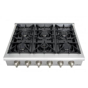 THOR Professional 36 Inch 6 Burner Rangetop in Stainless Steel ( HRT3618U ) - Bennet Hill