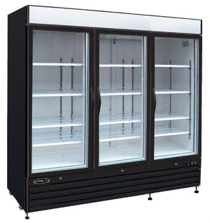 "Kool-It KGF-72-DV 81"" Black Swing Glass Door Merchandiser Freezer - Bennet Hill"