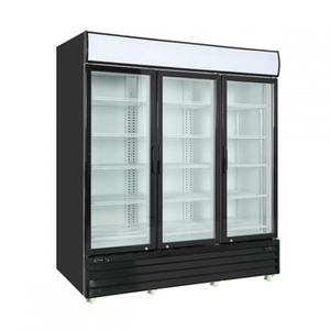 "Kool-It KGM-75 78"" Black Swing Glass Door Refrigerated Merchandiser with LED Lighting - Bennet Hill"
