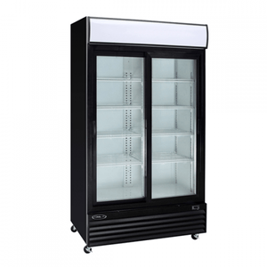 "Kool-It KSM-36 45"" Double Sliding Glass Door Refrigerated Merchandiser with LED Lighting - Bennet Hill"