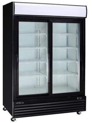 "Kool-It KSM-50 52"" Double Sliding Glass Door Refrigerated Merchandiser with LED Lighting - Bennet Hill"