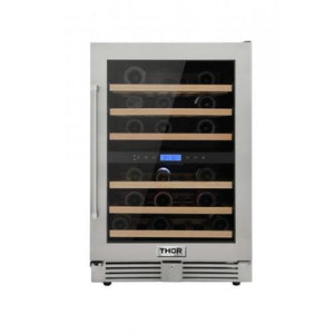 THOR 46-Bottles Indoor/Outdoor Independent Dual Zone Wine Cooler in 304 Stainless Steel ( TWC2401DO ) - Bennet Hill