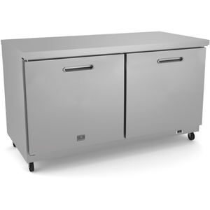 "Kelvinator ""REFRIGERATION EQUIPMENT UNDERCOUNTER REFRIGERATOR, 60"""" WITH 2 DOORS - STAINLESS STEEL (R600A)"" - Bennet Hill"