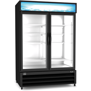 Kelvinator REFRIGERATION EQUIPMENT MERCHANDISER REFRIGERATOR, 49 CU.FT - 2 GLASS DOOR, BLACK (R290) - Bennet Hill