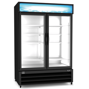 Kelvinator Refrigeration Equipment Merchandiser Freezer, 49 cu.ft, 2 Glass Door, black (R290) - Bennet Hill