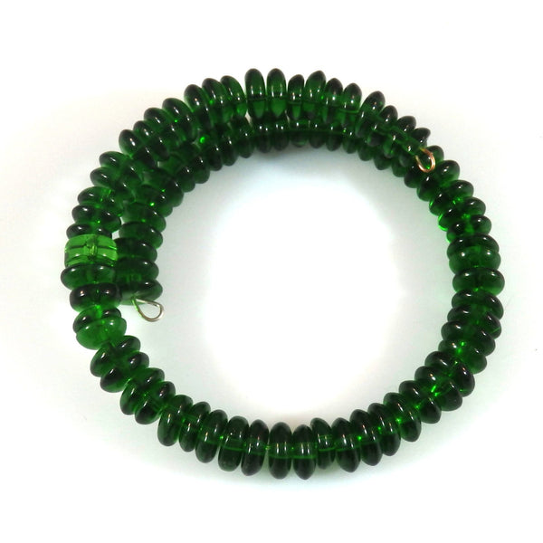 Beaded Green Glass Memory Wire Bangle Bracelet 1775