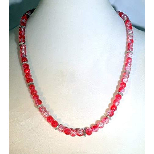Red Crystalline Glass Beaded Necklace 1640 - celtic-mink-jewelry