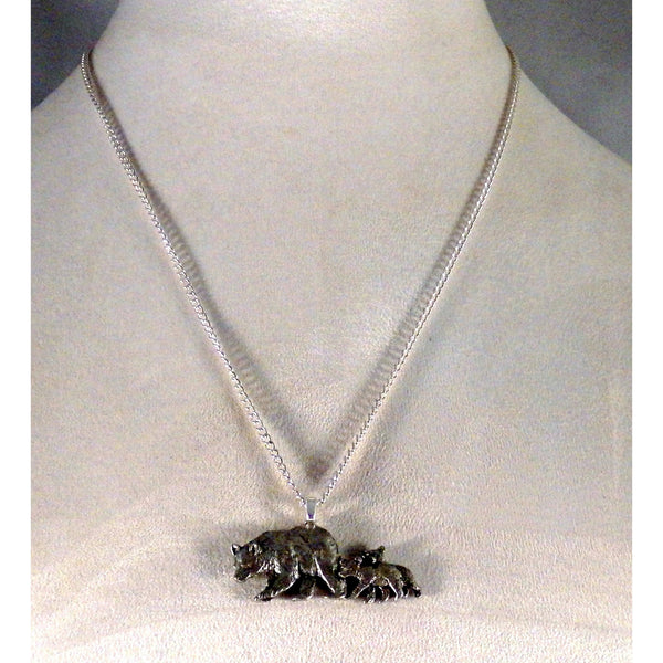 Mama Black Bear and Cubs Necklace 1134 - celtic-mink-jewelry
