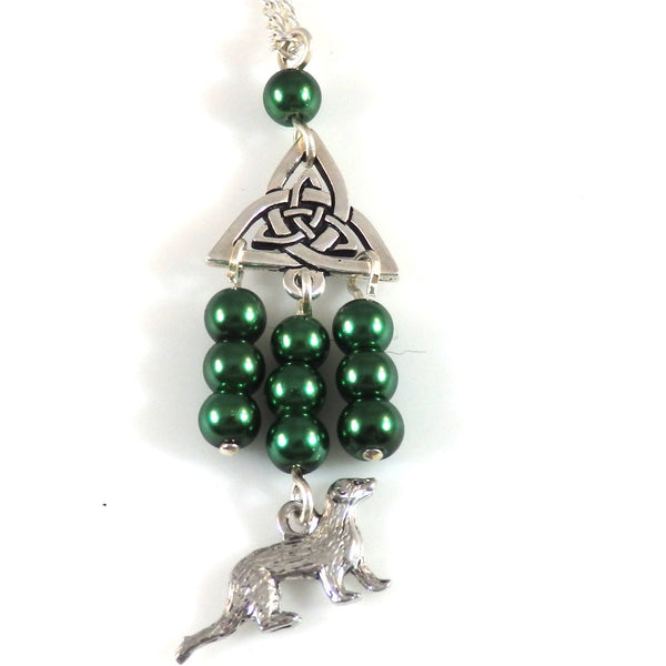 Green Celtic Triangle Knotwork and Ferret Necklace 1774