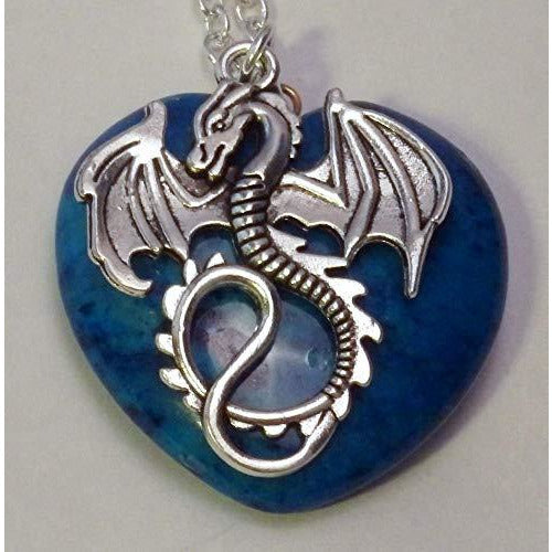 Dragon and Light Blue Heart Stone Necklace 453 Lt Blue - celtic-mink-jewelry