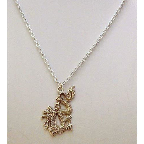 2 Inch Silvertone Fire Breathing Asian/Chinese Dragon Necklace 596 - celtic-mink-jewelry