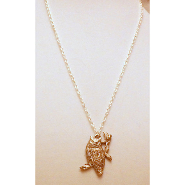 Moon and Owl Necklace 1354 - celtic-mink-jewelry