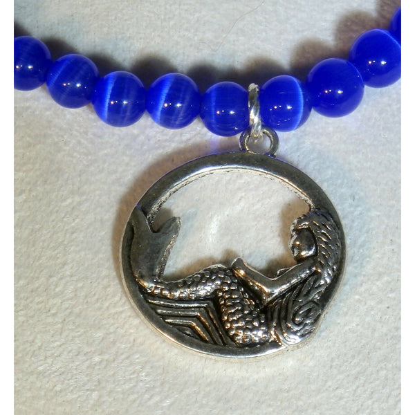 Lounging Mermaid in Deep Blue Sea Beaded Necklace 1631 - celtic-mink-jewelry
