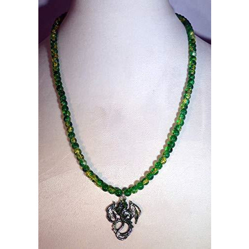 Green and Silver Stardust Dragon and Green Crystalline Glass Beaded Necklace 1637 - celtic-mink-jewelry