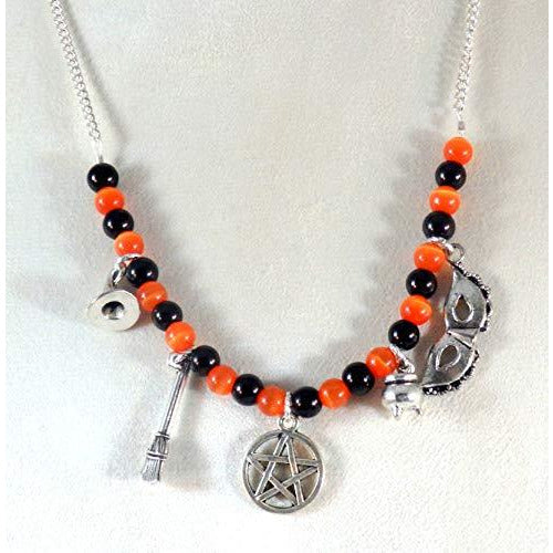 The Witching Hour Beaded Bib Necklace 593 - celtic-mink-jewelry
