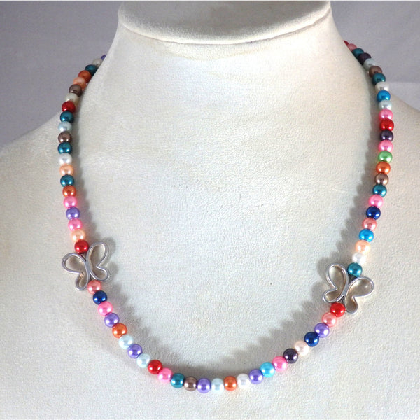 butterfly and rainbow glass beaded necklace  1811