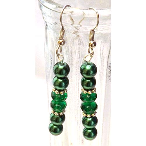 2 Inch Beaded Emerald Green Glass and Silvertone Accents Earrings 929