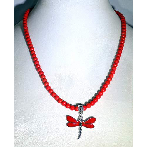 Red Dragonfly and Red Beaded Gemstone Necklace 1639 - celtic-mink-jewelry