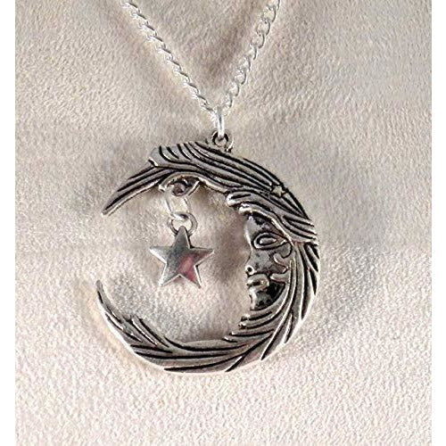 Moon Goddess and Star Necklace 1632 - celtic-mink-jewelry
