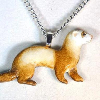 Artisan Chocolate Sable Ferret Necklace 738 - celtic-mink-jewelry