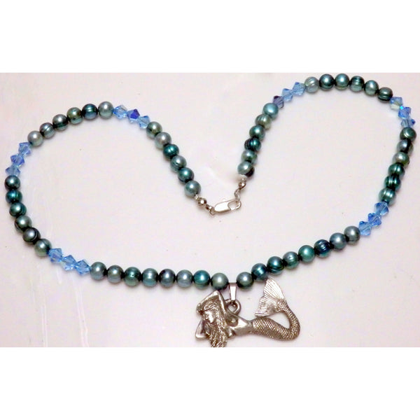 Aqua blue dyed cultured freshwater pearls and Austrian crystals mermaid necklace 968 - celtic-mink-jewelry