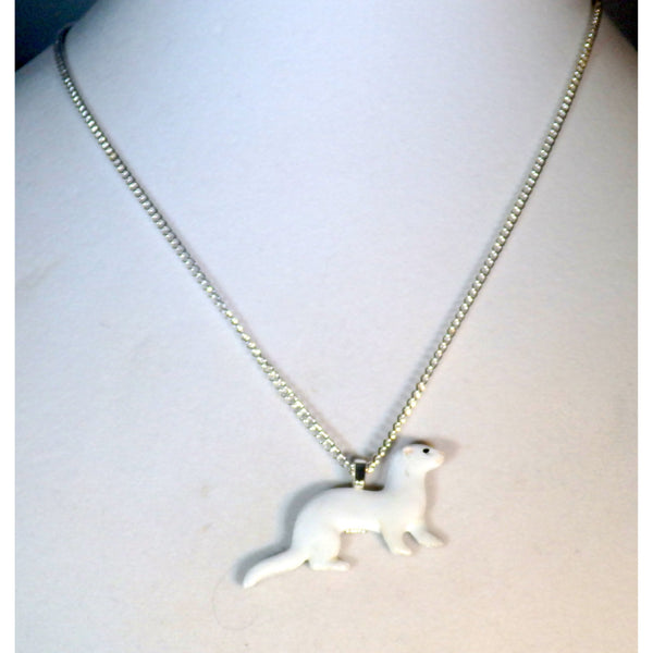 Artisan DEW or Dark Eyed White Ferret Necklace 734 - celtic-mink-jewelry