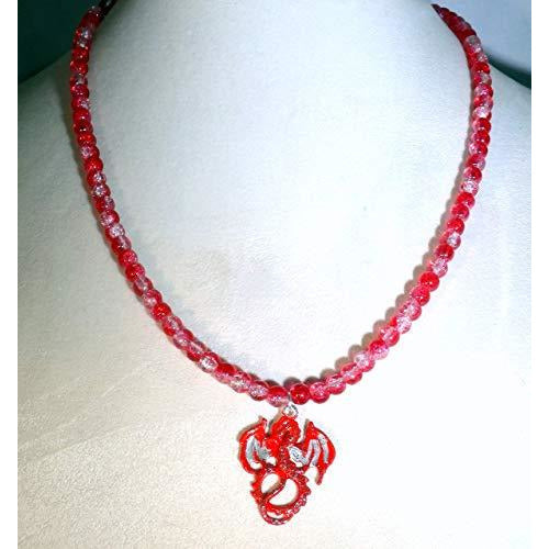 Red and Silver Stardust Dragon and Red Crystalline Glass Beaded Necklace 1710 - celtic-mink-jewelry