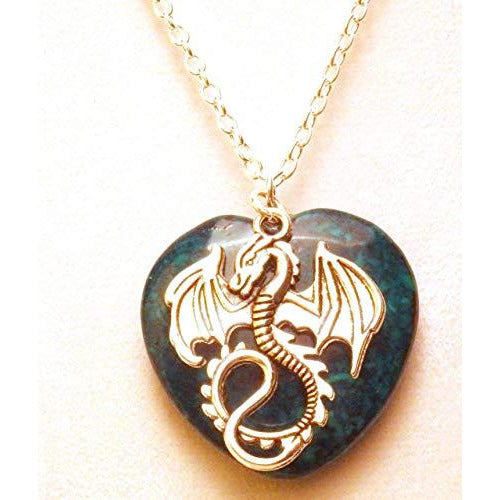 Dragon and Green Heart Stone Necklace 453 Green - celtic-mink-jewelry