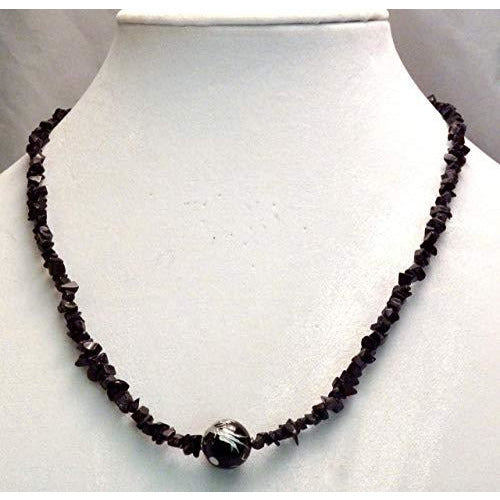 Carved Onyx Dragon Bead on Black Mini Chip Necklace 950 - celtic-mink-jewelry
