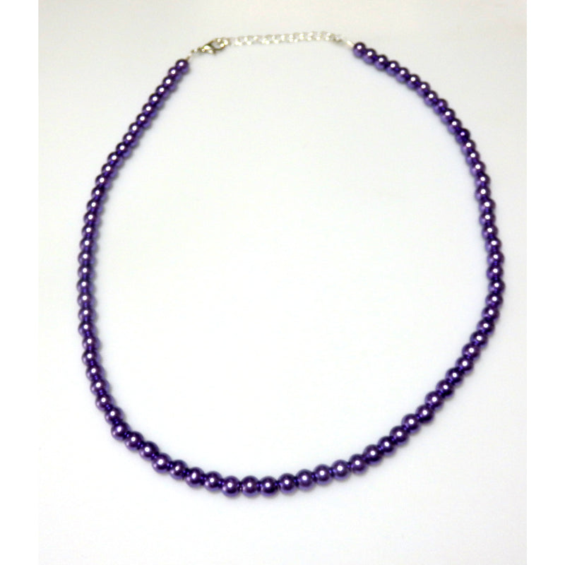 Violet Glass Beaded Necklace 1543 - celtic-mink-jewelry