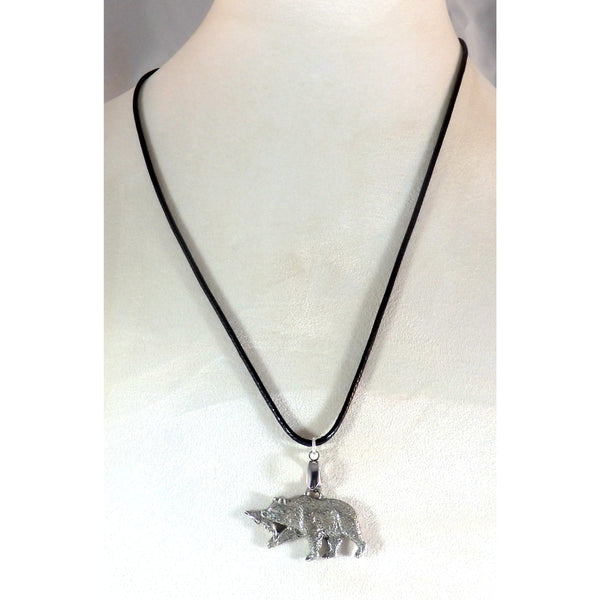 Pewter Bear with Fish Necklace 1686 - celtic-mink-jewelry