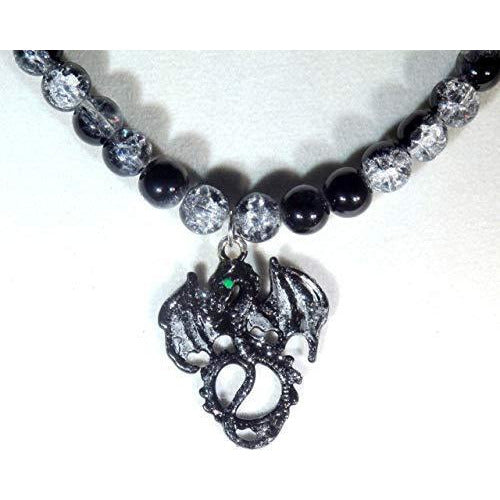 Black and Silver Stardust Dragon and Black Crystalline Glass Beaded Necklace 1490 - celtic-mink-jewelry