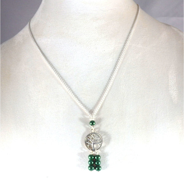 Emerald Green Beaded Tree of Life Necklace 1771