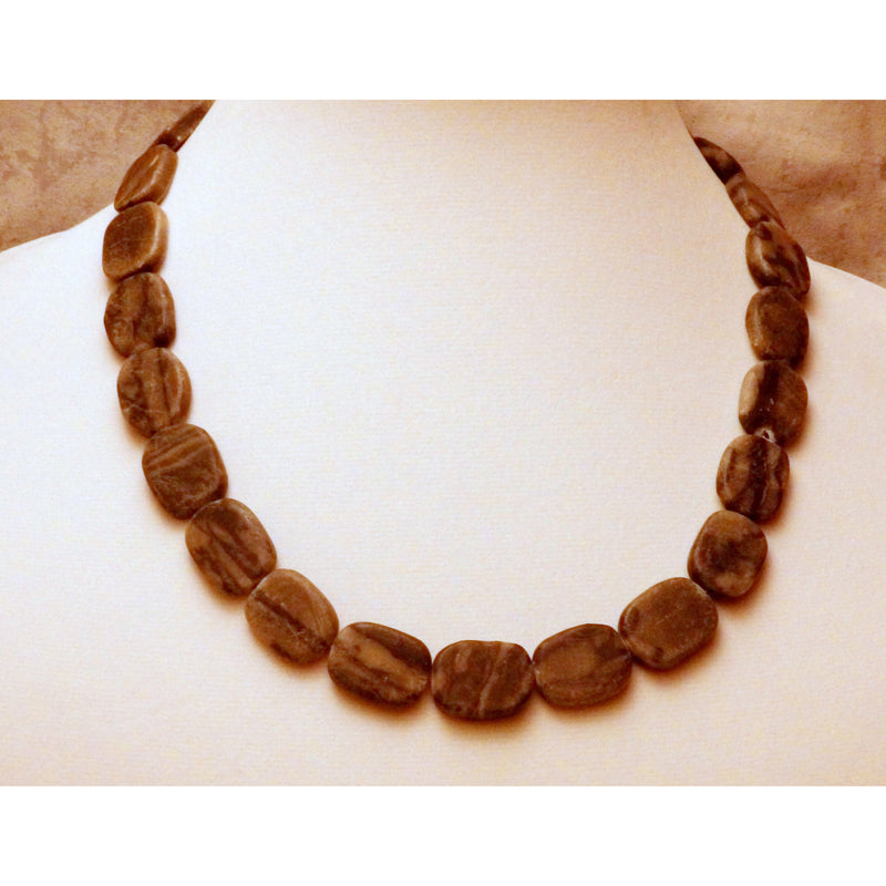 Black Marble Gemstone Necklace 662 - celtic-mink-jewelry