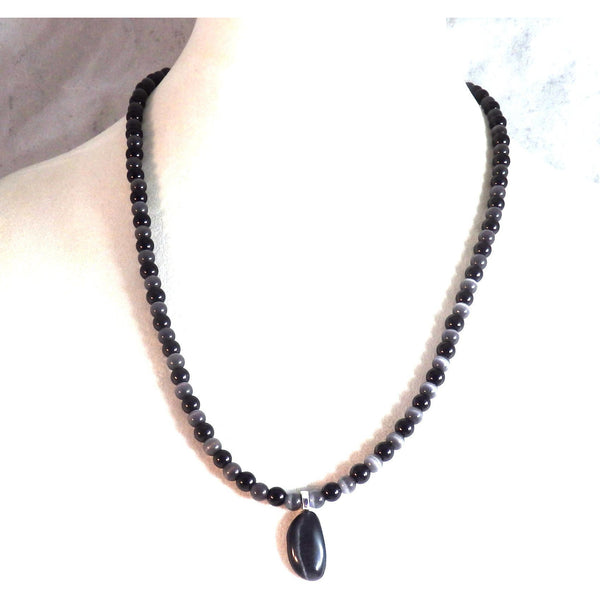 Black Catseye Glass Beaded Necklace and Pendant 1808