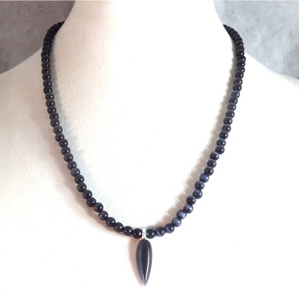 Black Catseye Glass Beaded Necklace and Tear Drop Pendant