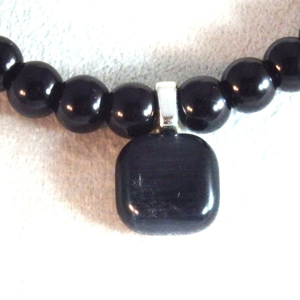 Black Glass Beaded Necklace and Catseye Glass Pendant 1804