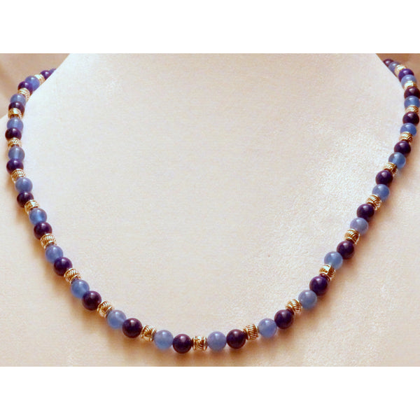 Blue agate and howlite beaded necklace 855 - celtic-mink-jewelry