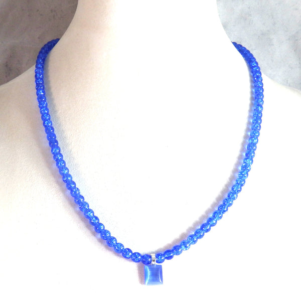 Cobalt Blue Crystalline Necklace and Catseye Pendant 1818