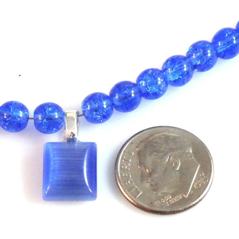 Cobalt Blue Crystalline Necklace and Catseye Pendant