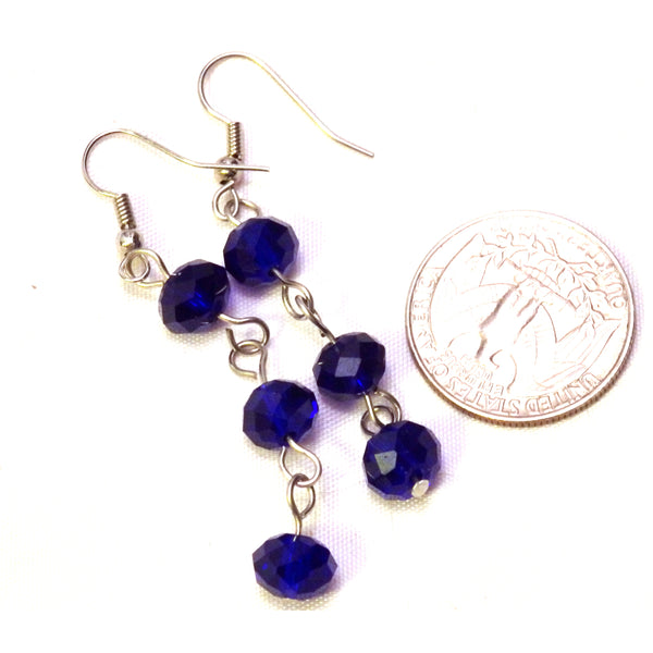 Cobalt blue glass beaded earrings 784