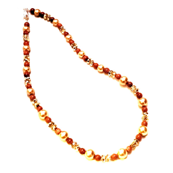 Brown goldstone and gold glass beaded necklace 936
