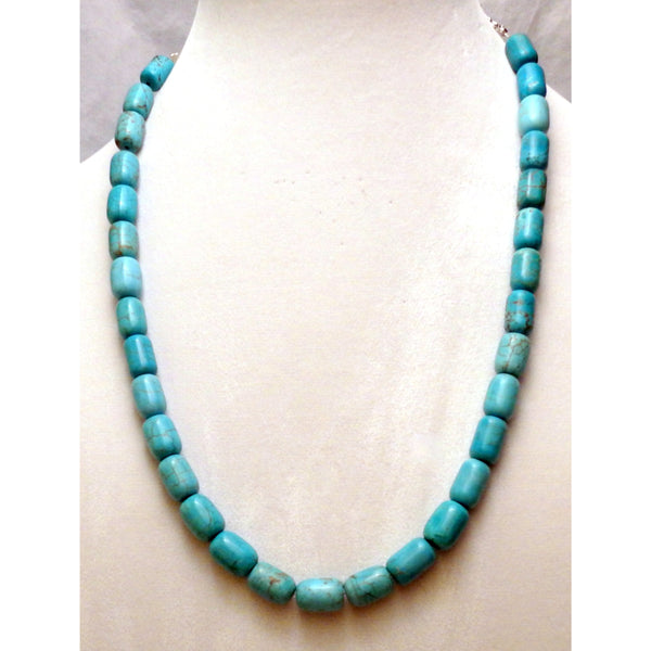 Chunky imitation turquoise necklace or aqua blue howlite necklace 1086 - celtic-mink-jewelry