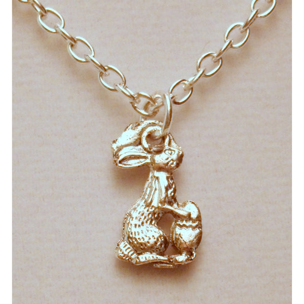 Easter Bunny Necklace 1304 - celtic-mink-jewelry