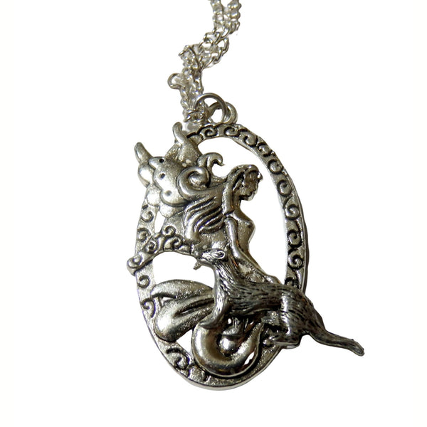 A Fairy and Her Pet Ferret Necklace 1608