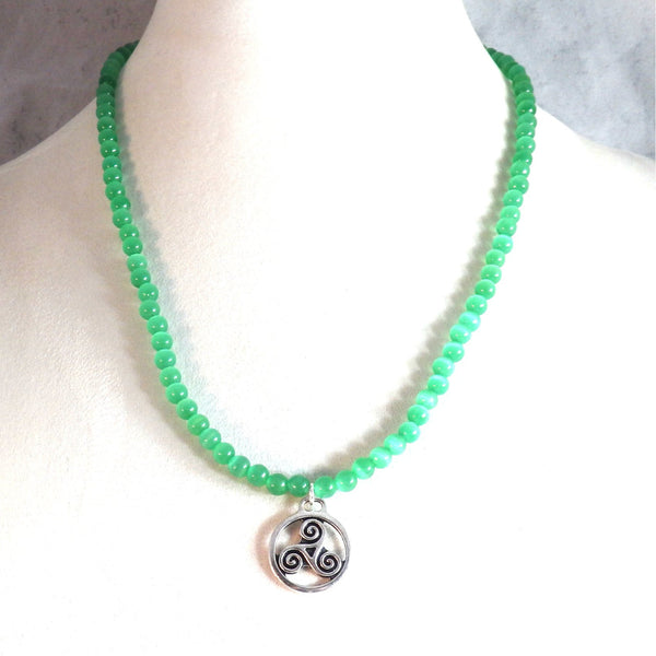 Green Catseye Necklace and Triskele Pendant 1801