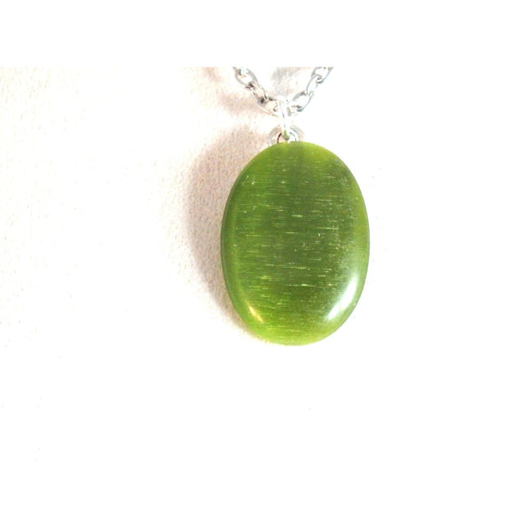 Green Catseye Pendant Necklace  1517
