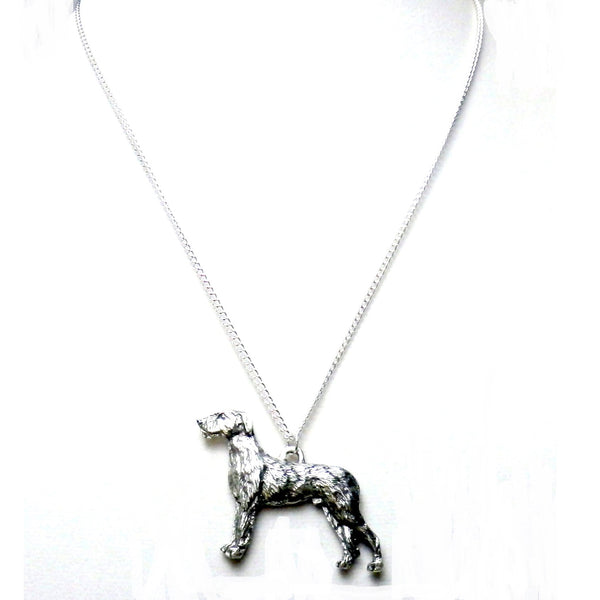 Fine Pewter Irish Wolfhound Dog Necklace 1508